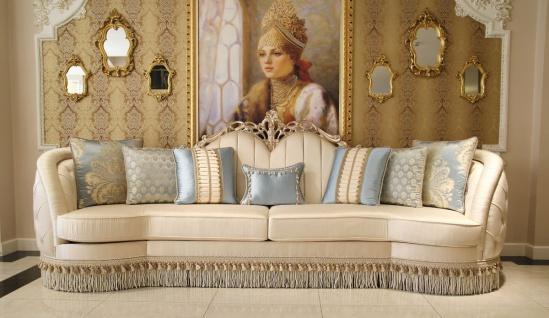 Casa Padrino Luxus Barock Wohnzimmer Sofa Beige / Silber 300 x 95 x H. 115 cm - Prunkvolles Sofa im Barockstil - Edle Barock Wohnzimmer Möbel