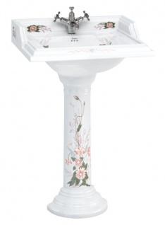 Casa Padrino Porzellan Waschbecken mit Sockel 65 x 58 x H. 95 cm - Luxus Edition