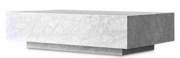 Casa Padrino Luxus Couchtisch Weiß 135 x 80 x H. 35 cm - Rechteckiger Wohnzimmertisch aus Carrara Marmor - Marmortisch - Luxus Qualität