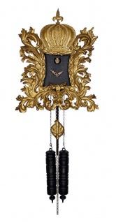Pompöös Schwarzwälder Kuckucksuhr mit Krone Gold / Schwarz 35 x H. 45 cm - Handgeschnitzte Wanduhr im Rokoko Stil - designed by Harald Glööckler