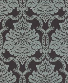 Casa Padrino Barock Textiltapete Dunkelbraun / Hellblau 10, 05 x 0, 53 m - Barock Tapete - Deko Accessoires