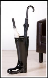 Designer Schirmständer Stiefel, Höhe 45 cm, edle Skulptur aus Keramik schwarz - Edel & Prunkvoll