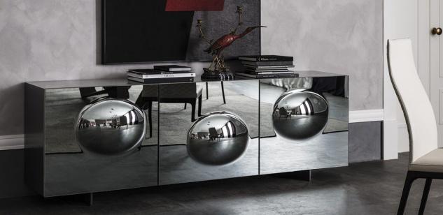 Casa Padrino Luxus Designer Sideboard Graphit Matt 200 x 50 x H. 73 cm - Moderner Massivholz Schrank mit 3 verspiegelten Türen - Luxus Möbel