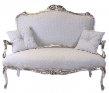 Casa Padrino Barock Weiss-Blau Muster / Silber - italienischer Stil - Barock Möbel