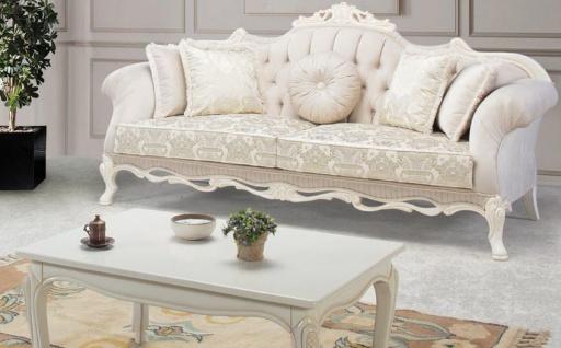 Casa Padrino Luxus Barock Massivholz Couchtisch Weiß / Beige 125 x 50 x H. 55 cm - Wohnzimmertisch im Barockstil