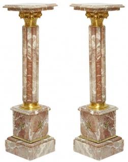 Casa Padrino Barock Marmor Säulen Set Mehrfarbig / Gold - Prunkvolle Deko Säulen im Barockstil - Barock Deko Accessoires - Edel & Prunkvoll