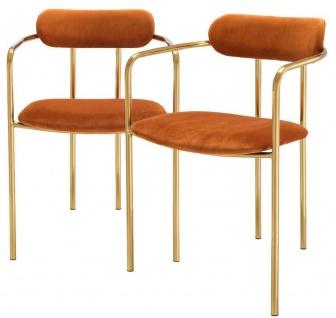 Casa Padrino Luxus Esszimmerstühle mit Armlehnen Orange / Gold 53 x 50 x H. 74 cm - Küchenstühle mit edlem Samtstoff - Esszimmer Set - Esszimmer Möbel