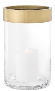 Casa Padrino Luxus Kerzenleuchter Antik Messing Ø 20 x H. 31, 5 cm - Runder Glas Kerzenleuchter mit Aluminium Ring - Luxus Kollektion