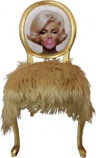 Casa Padrino Luxus Barock Esszimmer Set Marilyn Monroe Bubble Gum Crazy 50 x 60 x H. 104 cm - 6 handgefertigte Esszimmerstühle mit Kunstfell und Bling Bling Glitzersteinen - Vorschau 3