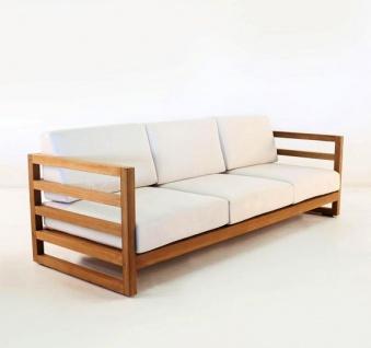 "Casa Padrino Garten 3-er Sofa Rustikal "" Miami"" Weiss-Creme/Braun 200 x 40 x H70 cm - Eiche Massivholz - Echtholz Möbel Massiv"