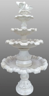 Casa Padrino Jugendstil Gartenbrunnen / Springbrunnen Ø 130 x H. 228 cm - Kunststein Brunnen mit dekorativen Tauben