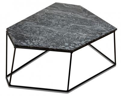 Casa Padrino Designer Couchtisch Schwarz mit Muster / Schwarz 89 x 54 x H. 30 cm - Luxus Wohnzimmertisch mit Marmorplatte