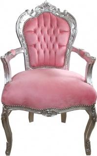 Casa Padrino Barock Esszimmer Stuhl mit Armlehnen Hellrosa / Silber - Möbel Antik Stil