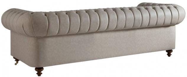 Casa Padrino Luxus Chesterfield Sofa Grau / Braun 240 x 100 x H. 78 cm - Edles Wohnzimmer Sofa - Chesterfield Möbel - Vorschau 2