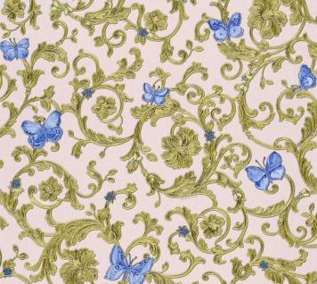 Versace Designer Barock Vliestapete Butterfly Barocco 343256 Rosa / Blau / Gold - Design Tapete - Luxus Qualität