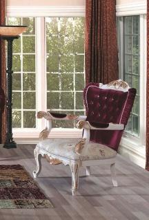 Casa Padrino Luxus Barock Wohnzimmer Sessel mit Glitzersteinen Purpur / Creme / Gold 90 x 85 x H. 110 cm - Prunkvolle Barock Möbel