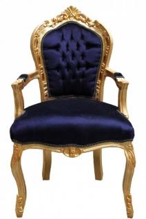Casa Padrino Barock Esszimmerstuhl Royalblau / Gold mit Armlehnen