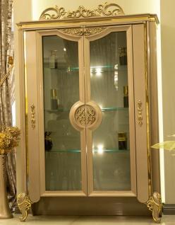 Casa Padrino Luxus Barock Vitrine Grau / Gold 130 x 48 x H. 191 cm - Prunkvoller Vitrinenschrank mit 2 Glastüren und 3 Glasregalen - Barock Möbel