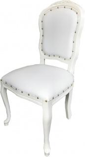 Casa Padrino Luxus Barock Esszimmer Set Weiß / Weiß 55 x 54 x H. 103 cm - 6 handgefertigte Esszimmerstühle mit Kunstleder - Barock Esszimmermöbel - Vorschau 3