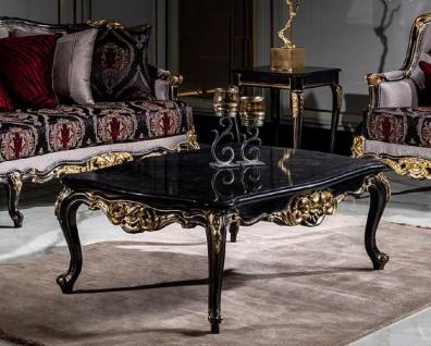 Casa Padrino Luxus Barock Couchtisch Schwarz / Gold - Handgefertigter Massivholz Wohnzimmertisch - Prunkvolle Wohnzimmer Möbel im Barockstil