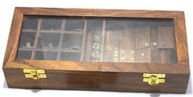 Casa Padrino 2er Holz Knobelspiel Braun 28 x 13 x H. 5 cm - Geduldspiel - Geschicklichkeitsspiel in Holzbox
