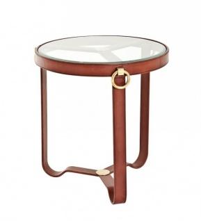 Casa Padrino Luxus Art Deco Designer Beistelltisch aus braunem Leder - Luxus Kollektion