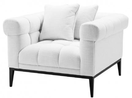 Casa Padrino Luxus Sessel Weiß / Schwarz 102 x 98 x H. 69 cm - Wohnzimmer Sessel mit 2 Kissen - Wohnzimmer Möbel - Luxus Möbel