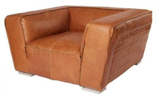 Casa Padrino Echtleder Sessel Braun 131 x 110 x H. 67 cm - Luxus Leder Möbel