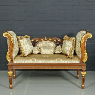Casa Padrino Barock Sitzbank Gold Muster / Braun 90 x 50 x H. 70 cm - Antikstil Sitzbank