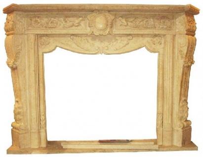 Casa Padrino Luxus Barock Kaminumrandung Beige 180 x 35 x H. 130 cm - Handgefertigte Kaminumrandung aus hochwertigem Marmor - Prunkvolle Barock Möbel