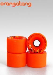 Orangetang Longboard Profi Wheels Fat Free 65mm / 80a Orange - Longboard Cruiser Wheel Set (4 Rollen)