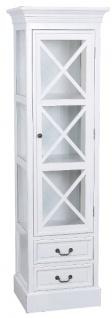 Casa Padrino Landhausstil Vitrine Weiß 48 x 38 x H. 166 cm - Handgefertigte Vitrine mit Glastür & 2 Schubladen