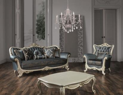 Casa Padrino Luxus Barock Wohnzimmer Set Blau / Creme / Gold - 2 Sofas & 2 Sessel & 1 Couchtisch - Prunkvolle Möbel im Barockstil - Vorschau 5