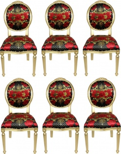 Pompöös by Casa Padrino Luxus Barock Esszimmerstühle Rosen Schwarz / Rot / Gold - Pompööse Barock Stühle designed by Harald Glööckler - 6 Esszimmerstühle