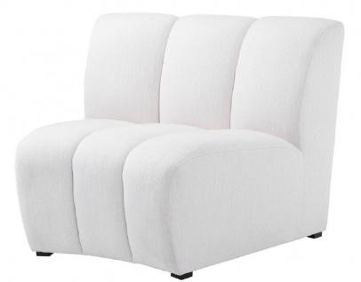 Casa Padrino Luxus Couch Weiß / Schwarz 109 x 95 x H. 83, 5 cm - Gebogenes & Erweiterbares Luxus Wohnzimmer Sofa