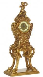 Casa Padrino Barock Standuhr Gold 21 x 13 x H. 50 cm - Kleine prunkvolle Massivholz Standuhr mit Engel - Vorschau 2