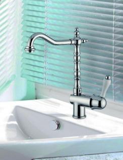 Luxus Bad Zubehör - Jugendstil Retro Waschbecken Armatur Waschtisch Einhand Waschtischbatterie Chrom Serie Milano - Made in Italy - Vorschau 1