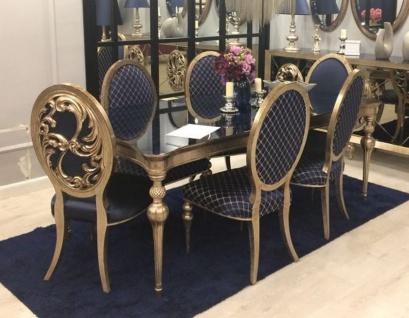 Casa Padrino Luxus Barock Esszimmer Set Blau / Antik Gold - 1 Esszimmertisch & 6 Esszimmerstühle - Barock Esszimmer Möbel - Edel & Prunkvoll