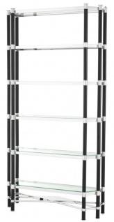 Casa Padrino Luxus Wohnzimmer Regalschrank Silber / Schwarz 110 x 35 x H. 220 cm - Wohnzimmerschrank