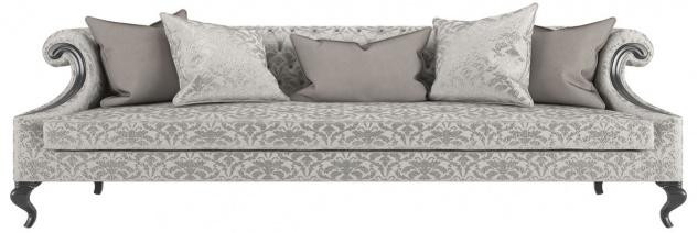 Casa Padrino Luxus Barock Wohnzimmer Sofa mit elegantem Muster Silber / Grau / Schwarz 260 x 100 x H. 82 cm - Wohnzimmer Möbel im Barockstil - Edel & Prunkvoll
