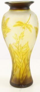 Casa Padrino Glas Deko Vase Libelle Gelb / Braun Ø 19, 5 x H. 44, 7 cm - Luxus Cameoglas Baluster Blumenvase