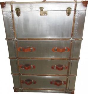 casa padrino art deco vintage koffer schrank kommode aluminium leder vintage look flieger. Black Bedroom Furniture Sets. Home Design Ideas