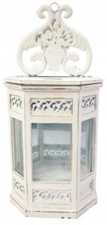 Casa Padrino Barock Wand-Laterne aus Holz, Weiss, antique-look weiss, Kerzenleuchter Antik