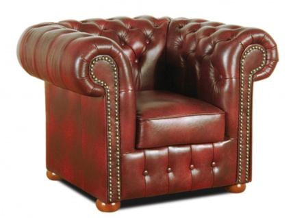 Casa Padrino Chesterfield Wohnzimmer 3er Set Weinrot - Luxus Echtleder Möbel - Vorschau 4