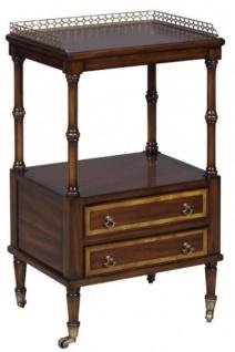Casa Padrino Luxus Jugendstil Beistelltisch mit 2 Schubladen Dunkelbraun / Gold 42 x 33 x H. 74 cm - Telefontisch mit Rollen - Vorschau 1
