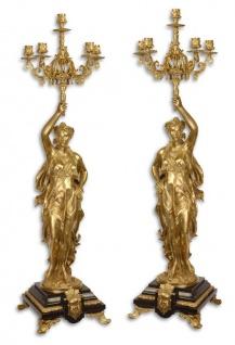 Casa Padrino Barockstil Kerzenständer Set Gold / Schwarz 33, 5 x 26 x H. 100 cm - Barockmöbel