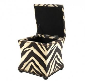 Casa Padrino Luxus Sitz Hocker Zebra 47 x 47 x H. 52 cm - Luxus Qualität
