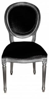 Casa Padrino Barock Esszimmer Stuhl Schwarz / Silber - Designer Stuhl - Luxus Qualität