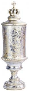 Casa Padrino Barock Vase mit Deckel und dekorativer Krone Antik Silber / Antik Gold Ø 13 x H. 43 cm - Deko Accessoires im Barockstil