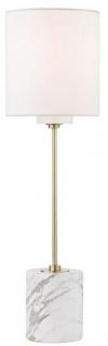 Casa Padrino Luxus Tischleuchte Antik Messing / Weiß Ø 15, 9 x H. 55, 9 cm - Moderne runde Tischlampe mit Lampenschirm aus Kunstseide und Marmorsockel - Vorschau 1